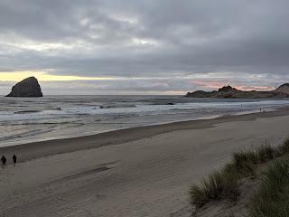 Haystack Rock and Cape Kiwanda head at dusk, Pacific City Oregon.