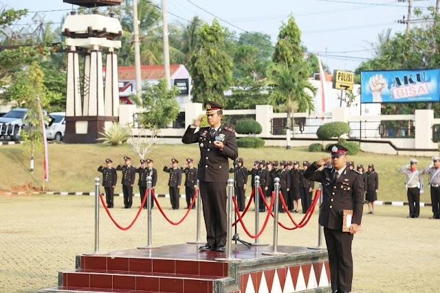 Peringati HUT RI ke 74, Polres Lampung Utara Gelar Upacara