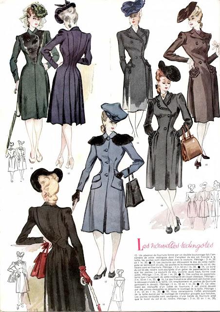 magazine mode et travaux octobre 1942 silhouettes nouvelles redingotes