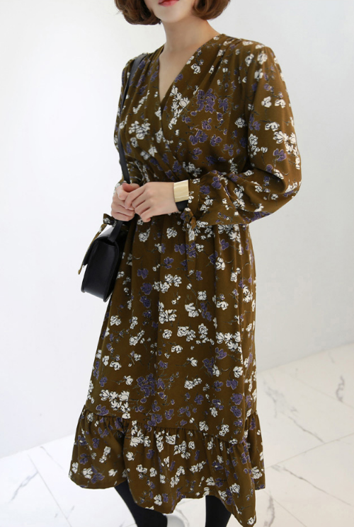 Floral Surplice Neck Dress