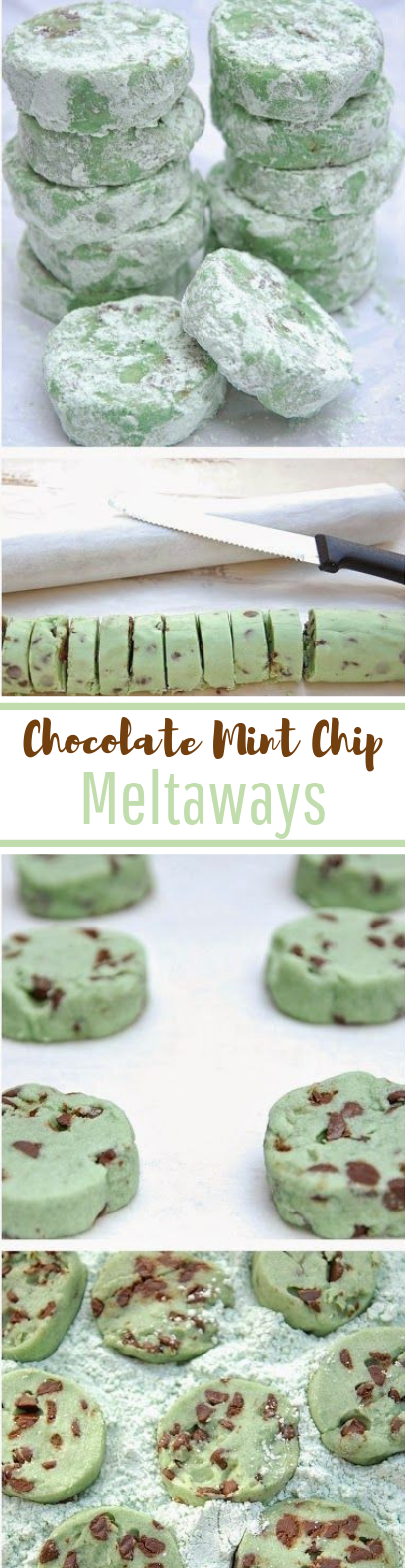 Chocolate Mint Chip Meltaways #holidaydessert #cookies