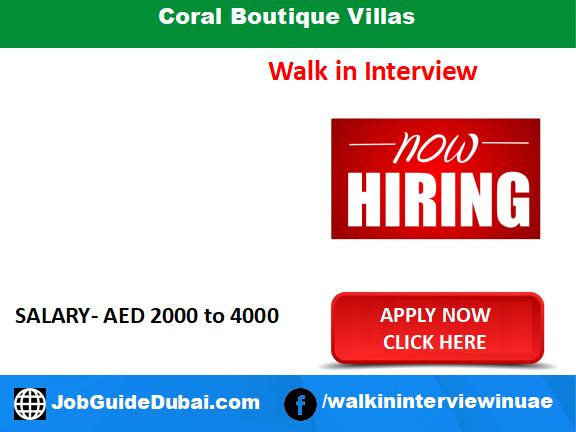 Coral Boutique Villas career for Security Guard, Ac Technician and Junior Accountant jobs in Dubai UAE