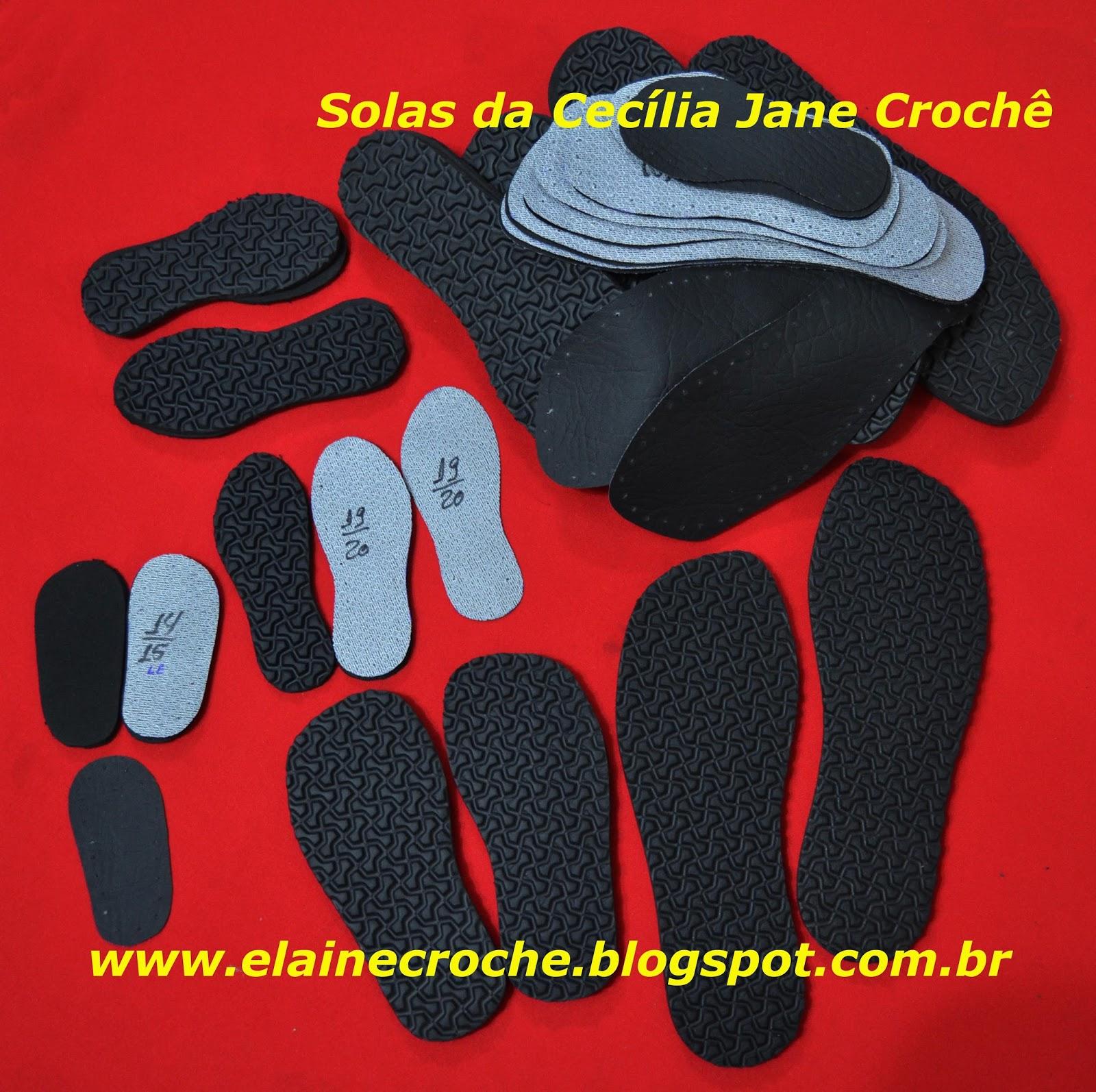 Elaine Croche  Solas em EVA para Botas e outras peças em Crochê ... 1049c8f80f