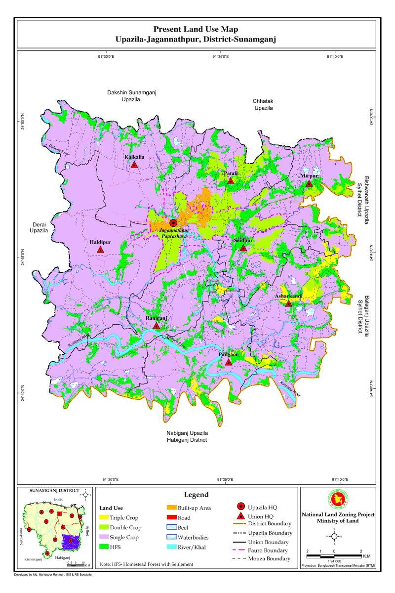 Jagannathpur Upazila Mouza Map Sunamganj District Bangladesh