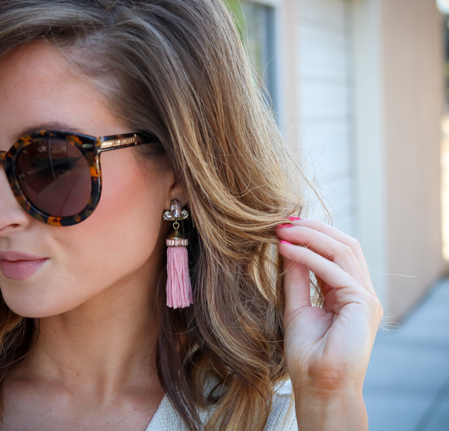 pink baublebar tassel earrings