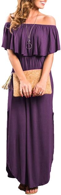 Good Quality Purple Strapless Maxi Dress