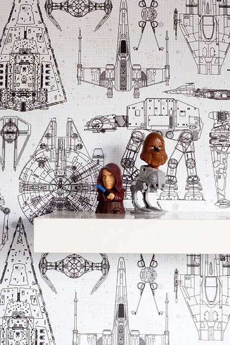 Star Wars peel and stick wallpaper close up