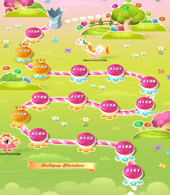 Candy Crush Saga level 8121-8135