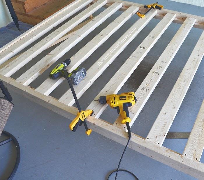 Installing slats on bed frame
