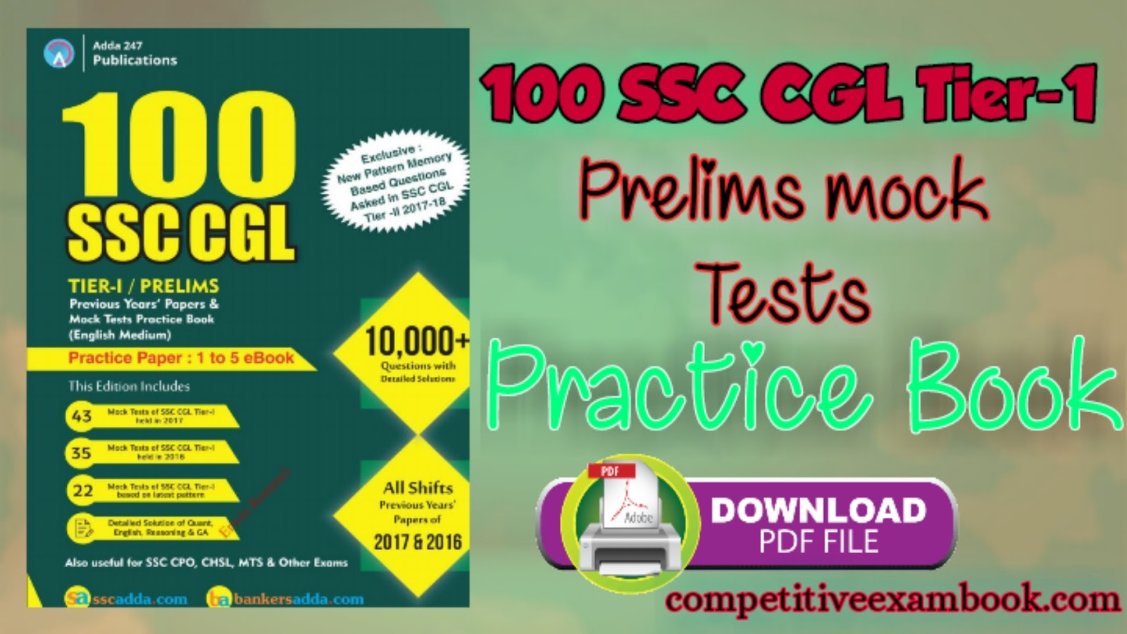100 Mock Tests Practice Book for SSC CGL Tier-I 2018 | Pre Book Now!!