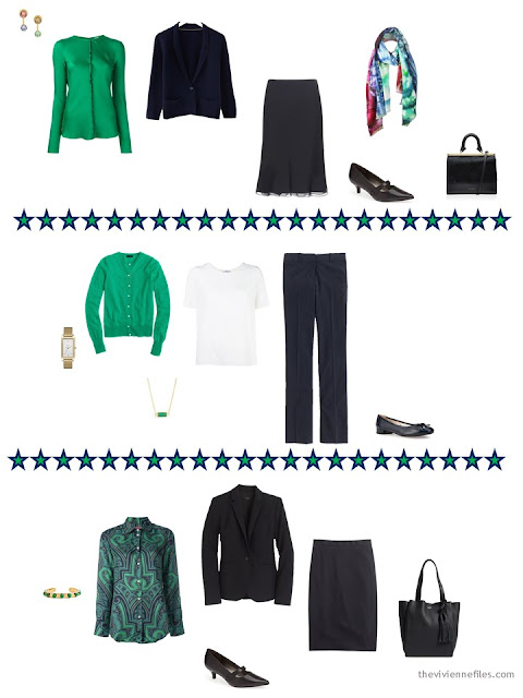 Three outfits from a business capsule wardrobe, emphasizing the accent color emerald