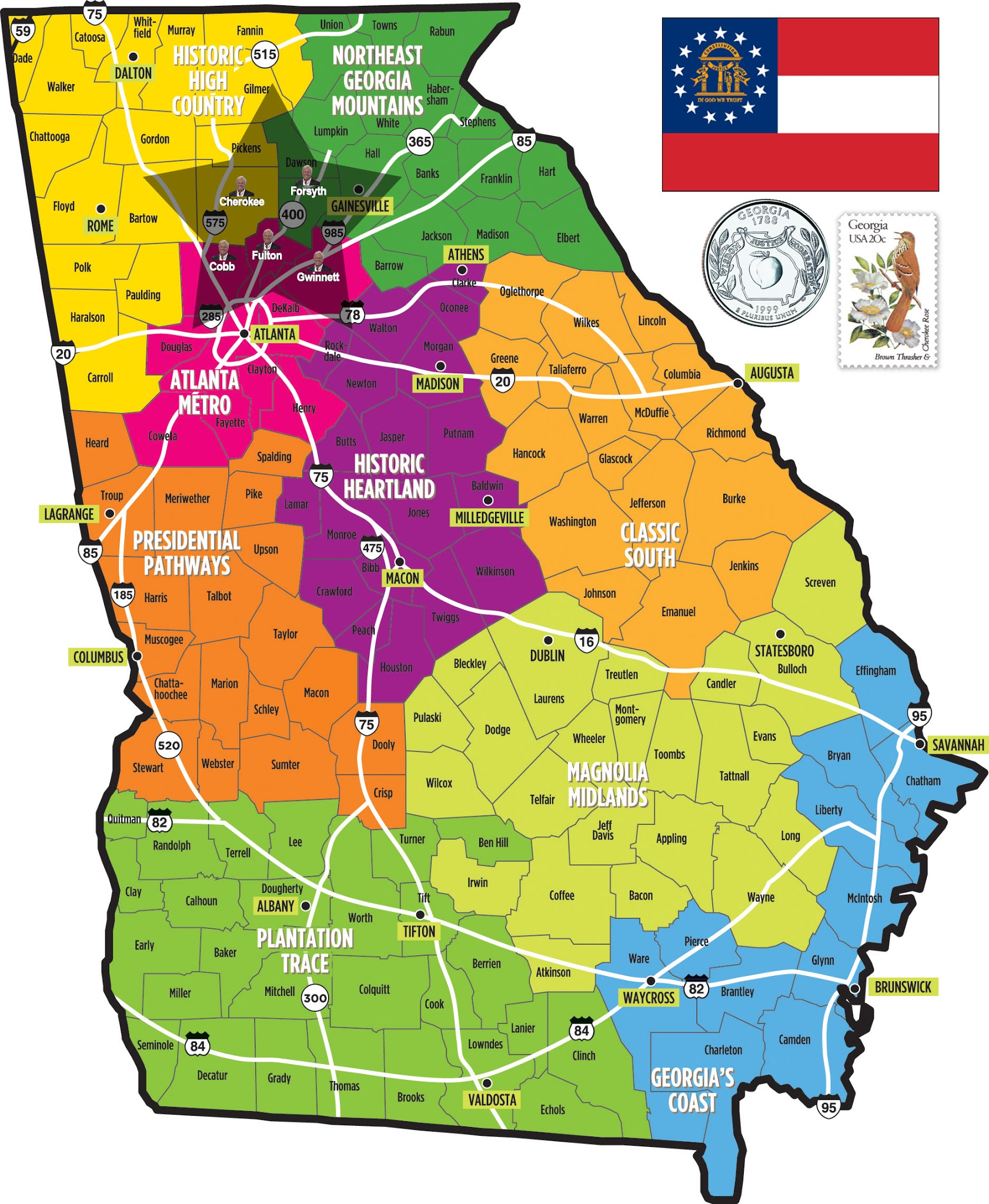Map Of Georgia Tennessee North Carolina.Georgia State Map Car Radio Gps