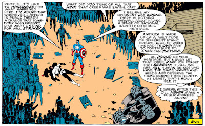 Another panel of Flag-Smasher and Captain America having a really wordy debate.