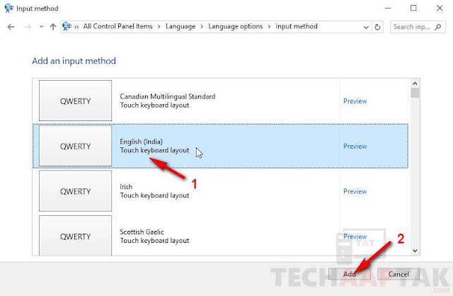 select English (India) keyboard layout