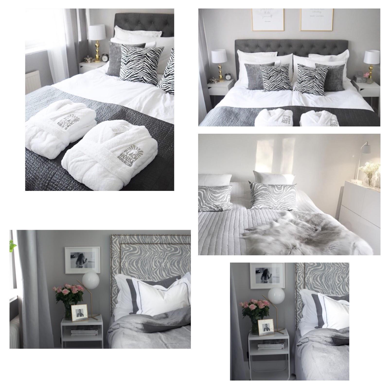 grå vitt sovrum