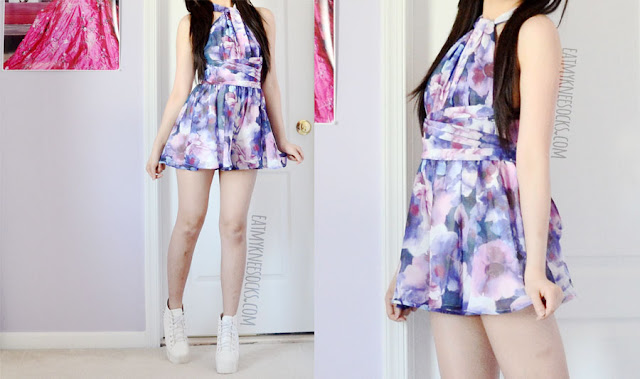 Convertible purple floral chiffon romper and white spiked Jeffrey Campbell Lita platform heels dupes for a cute summer outfit.