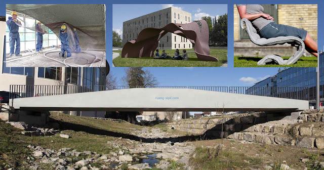 penerapan beton tekstil pada jembatan, kursi ergonomis, lapisan atap, dan perkuatan beton