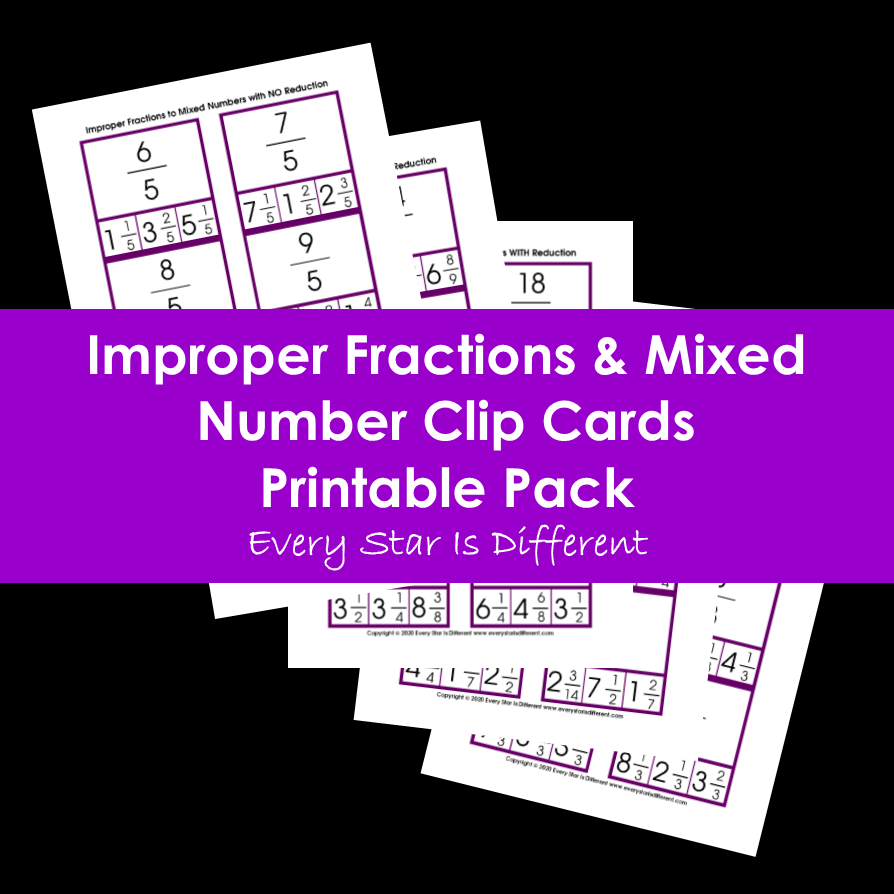 Improper Fractions & Mixed Numbers Clip Cards Printable Pack