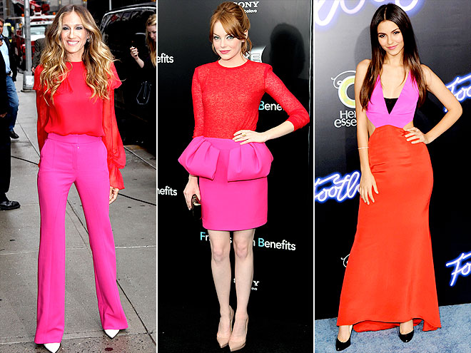 Hot Pink With Red Or Orange Is A Very Cur And Bold Color Combination Most Of Us Are Probably Not This Daring In Our Everyday Dressing