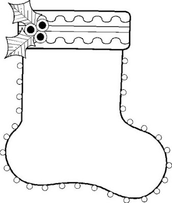 Plain christmas stocking coloring page 1