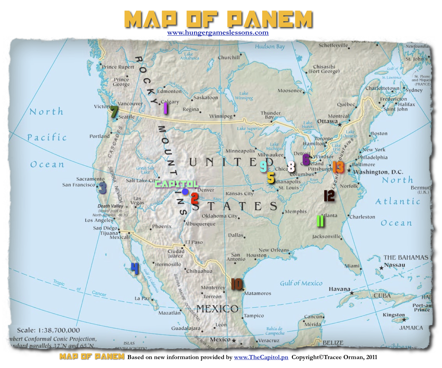 Hunger Games Lessons My Updated Map Of Panem The Hunger Games Trilogy - Hunger-games-us-map