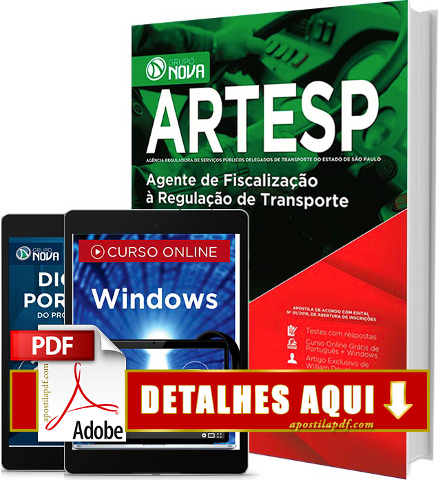 Apostila ARTESP 2017 PDF Impressa Agente de Fiscalização à Regulação de Transporte