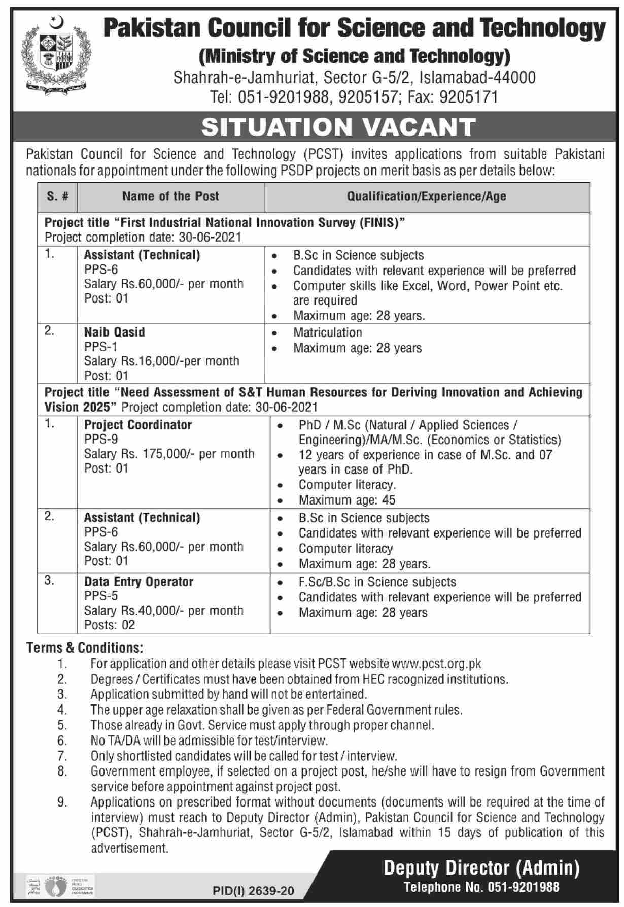Pakistan Council For Science & Technology PCST Latest Jobs in Pakistan - Download Job Application Form - www.pcst.org.pk Jobs 2021
