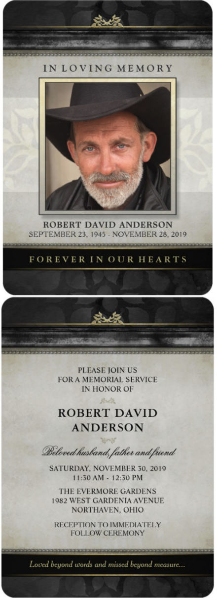 black & gold timeless memorial invitation card front and back