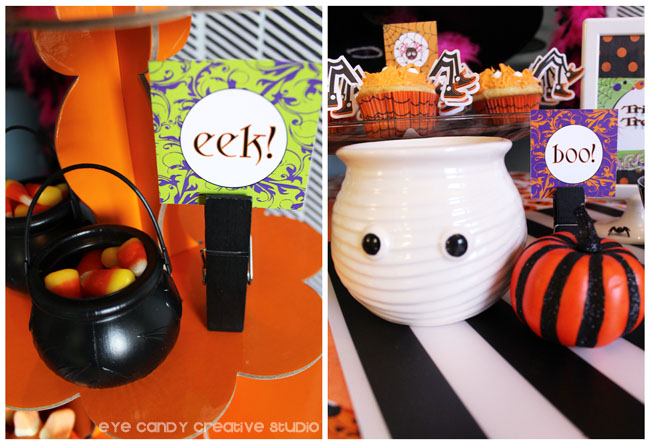 halloween party printables, eek, boo, candy corn, ghost dish, cauldron