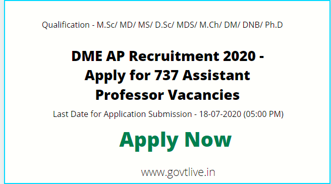DME AP Recruitment 2020 - Apply for 737 Assistant Professor Vacancies