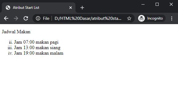 atribut start list HTML