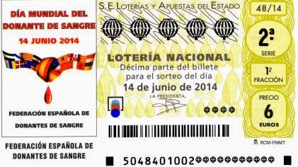 Décimos de la Lotería Nacional del sábado 14 de junio de 2014