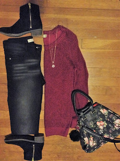 burgundy sweater ootd