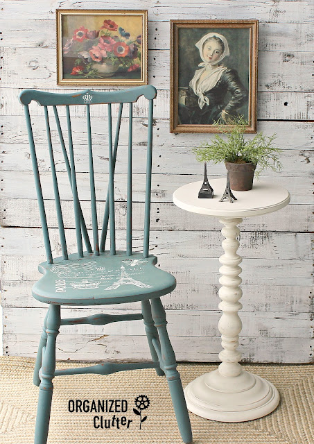 Vintage Wooden Spindle Chair Upcycle with Homestead House Milk Paint #stencil #milkpaint #chairupcycle #Frenchcountry #paris #HomesteadHouse