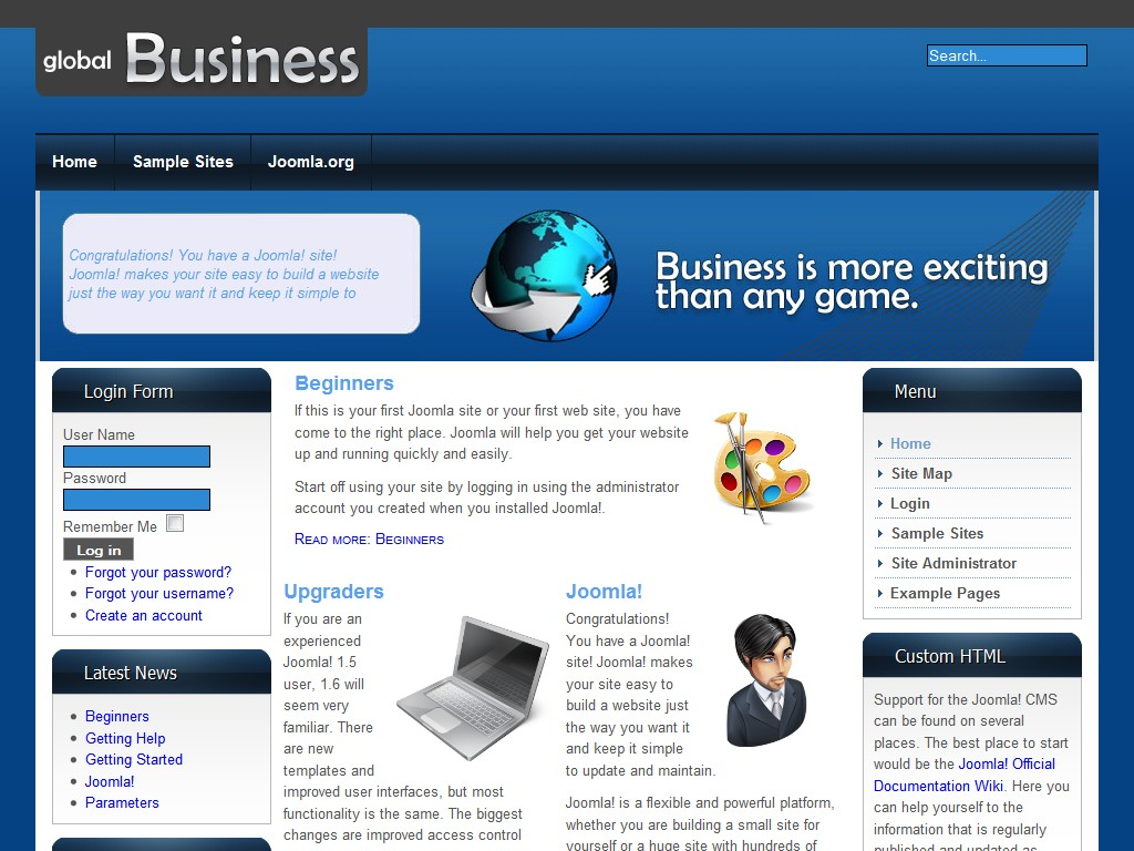 jooma templates globalbusiness free joomla 1 6 template free website