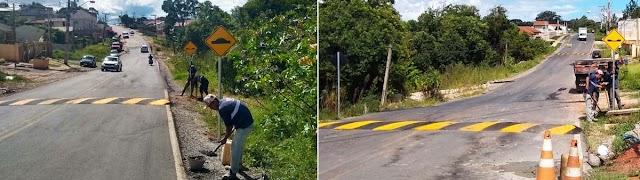 Acesso entre Colônia Faria e São Dimas ganha nova sinalização e lombadas