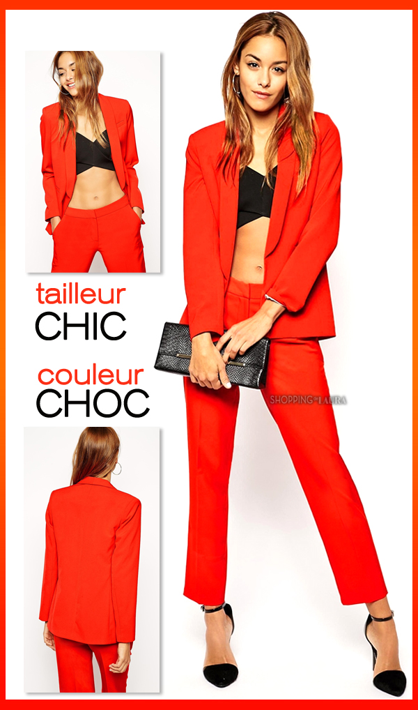 tailleur pantalon rouge chic asos. Black Bedroom Furniture Sets. Home Design Ideas