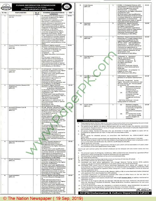 Punjab Information Commission (Screening Test for Various Posts)