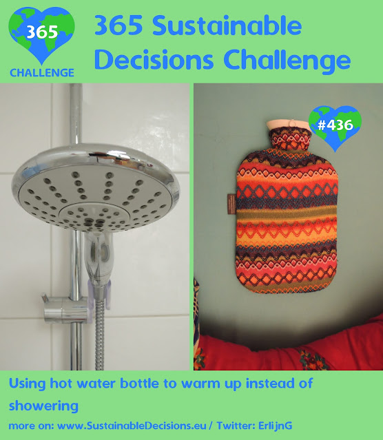 On the left a picture of a shower head; on the right a picture of a hot water bottle in bed