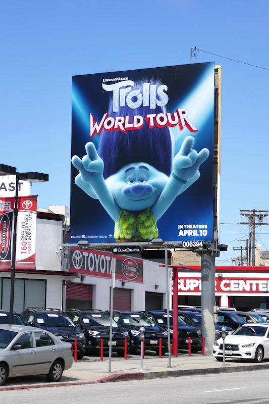 Branch Trolls World Tour film billboard