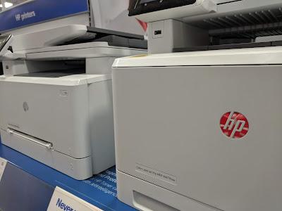 hp printer with silver logo