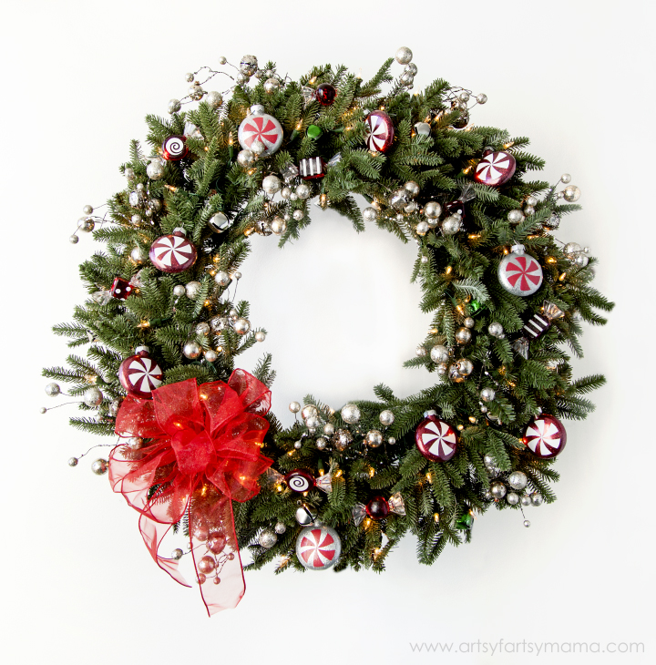 Handmade Holiday Christmas Peppermint Wreath at artsyfartsymama.com