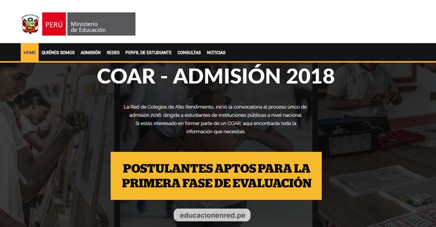 COAR: Lista de Postulantes Aptos para Rendir Evaluación Primera Fase el 10 Febrero (.PDF) Colegios de Alto Rendimiento - www.minedu.gob.pe