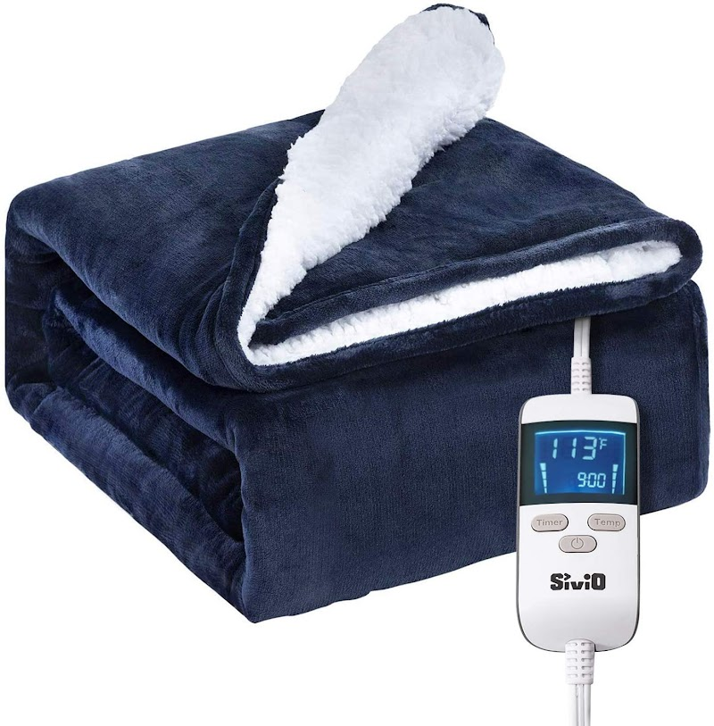 "40% clip coupon +  (40%) price drop  Electric Fast Heating Blanket 50"" x 60"" Flannel & Sherpa Reversible Throw"