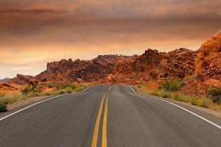 Straße Roten Felsen Felsformationen Sonnenuntergang