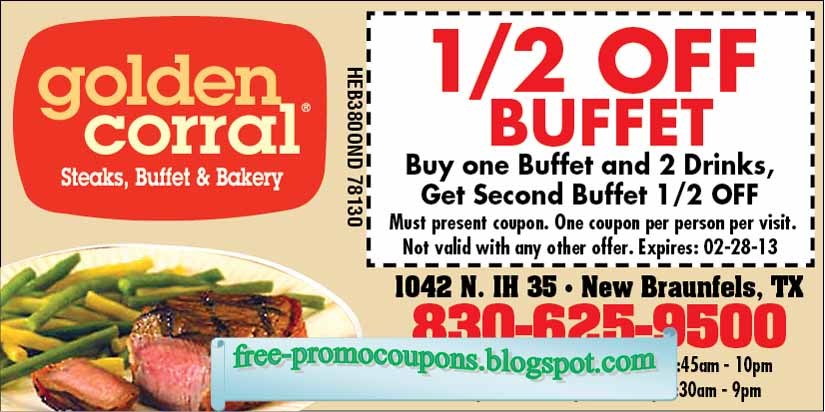 photo regarding Golden Corral Printable Coupons identified as Printable Coupon codes 2019: Golden Corral Discount codes