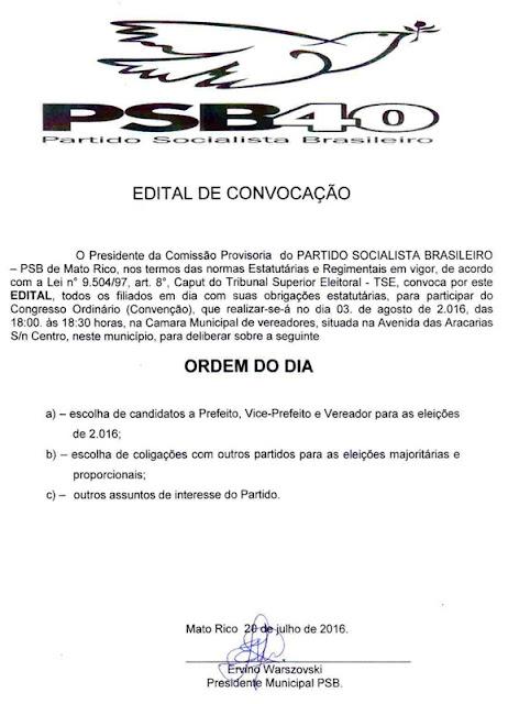PSB de Mato Rico publica edital da sua Convenção Municipal