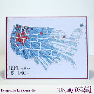 Divinity Designs Stamp Set: America the Beautiful, Paper Collection: Patriotic, Custom Dies: USA Map, Pierced Rectangles