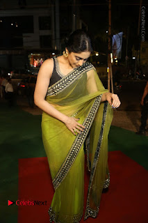 Actress Regina Stills in Green Saree at Vivaha Bhojanambu Restaurant Launch  0156.JPG