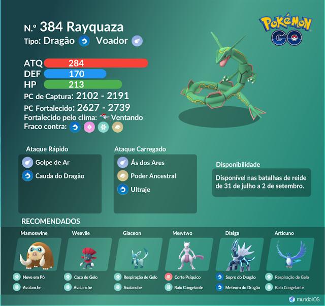 Confira o guia de batalha de reide para enfrentar Rayquaza em Pokémon GO